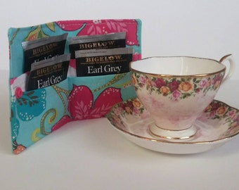 Tea Bag Wallet, Tea Bag Holder,Tea Wallet,  Tea Bag Storage, Tea Bag Caddy, Travel Tea Bag Holder, Tea Bag Case,  Paradise Birds
