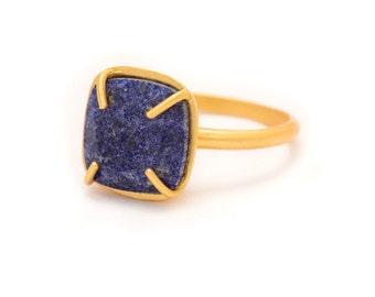Lapis Lazuli in Yellow Gold Gemstone Ring - Rose Gold Ring - Square Cushion Cut  - Gemstone Ring - Sizes  5, 6, 7, 8, 9, 10