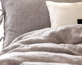 Gray linen duvet cover - black white striped bedding Queen, King, Euro King, Super King, Cal King, Oversized - Scandiavian style  | 0401