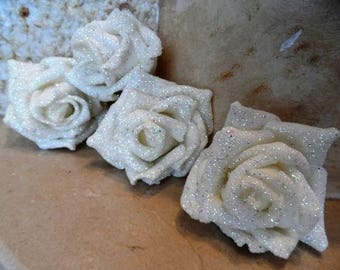 set of 4 appliques white flowers with glitter 7 cm