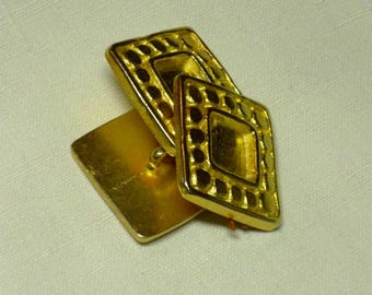 Lot 3 buttons square gold metal 27mm