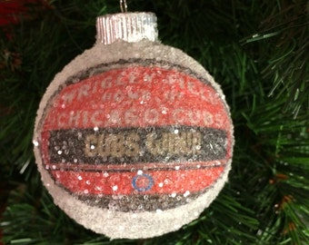 Cubs Win!! Wrigley Field marquee proclaims!  World Series Champions 2016!! Chicago Cubs glass glitter ornament
