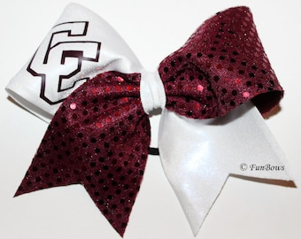 School Recreational Cheerleading Custom bow with Sequins by Funbows