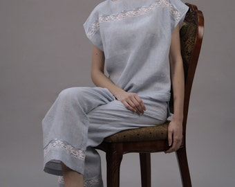 Pure Linen Pajama Set For Women/ Top Kimono laced at Front and Cropped Pajama Trouser Laced/Linen Sleepwear