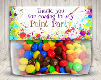 Paint Birthday Party, Paint Party Favors, Treat Bag Toppers, Painting Art Party, Painting Theme, Paint Party Candy, Kids Art Party