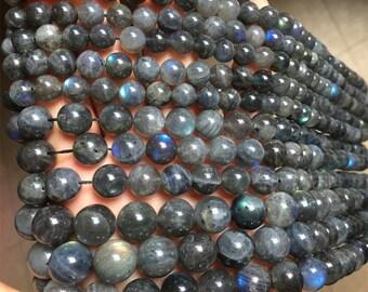 "A Natural Genuine Dark Blue Flash Light Labradorite Round Jewelery Loose Beads 15"" 04051"