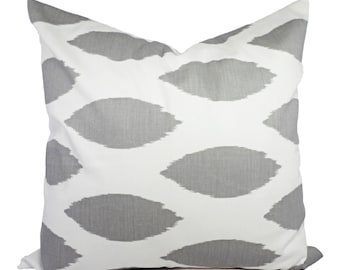 Two Decorative Throw Pillow Covers - Grey and White Ikat Print - Cushion Cover Accent Pillow - Grey Pillow Cover - Grey Chipper