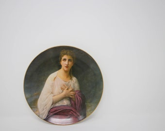 Vintage 70s Decorative Madeline Plate Wm. A. Bouguereau