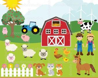 Farm Animals Clipart. Farm Clip Art Set, Barnyard Animals Clipart, Farmhouse Clip Art, Animals Clip Art, Animal Clipart, Farmers Clip Art