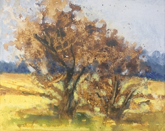 Original Landscape Painting 8x8 on canvas Tree and Sky Summer Nature Fields