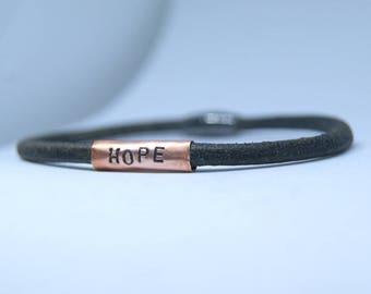 Men's bracelet, Men's leather and copper bracelet, Men's stamped bracelet, Leather bracelet