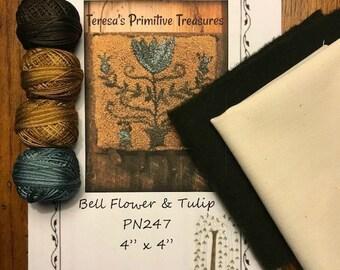 Punch Needle Kit PN247 Bell Flowers Tulips Valdani Threads Weavers Cloth Wool