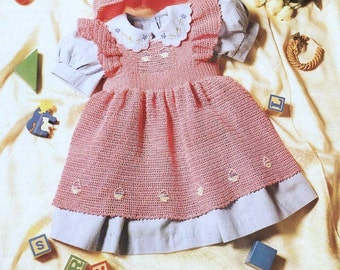 Download Baby Crochet PATTERN - Pinafore Tunic and Mob Cap - Thread - 16 to 20 inch chest
