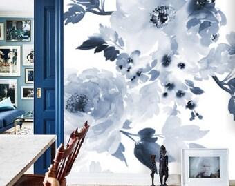 floral deep blue wall mural, self adhesive, removable wallpaper, vintage watercolor floral mural, temporary nursery wallpaper, peelstick,#77