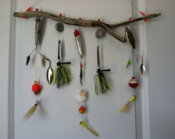Fathers Day or Birthday Gift Fishing Lure Chime, recycled fishing lures