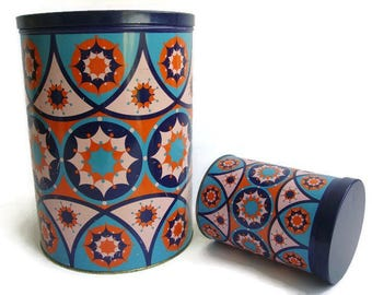 Vintage Mod large kitchen canister by Tomado, Set of 2, Made in Holland