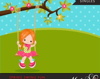 Spring Clipart. Red blonde girl playing, swing, spring trees, graphics, outdoor, easter, card making, scrapbooking, commercial use