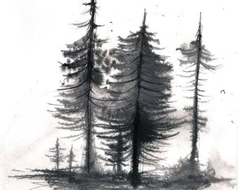 Forest painting 8x12in, A4 on PAPER -black and white fir painting 1