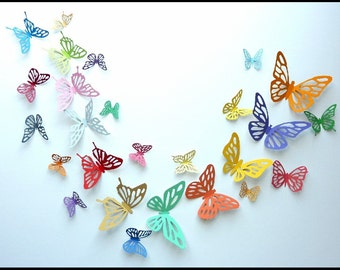 3D Wall Butterfly - 10 Colorful Butterflies for Nursery, Wedding, Home Decor