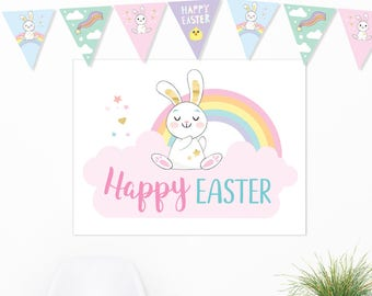 Happy Easter Poster Printable, Large Easter sign, Easter backdrop, Digital Sleepy Bunny poster, Easter decorations party sign, Cute rabbit