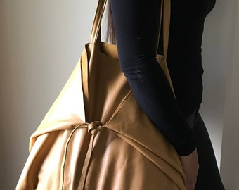 Tie Up Leather Tote Handbag. Ready to ship now, leather tote, tie up straps, Large leather tote bag, tie up strap tote bag, tan leather tote