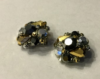 Vintage Jose and Maria Barrera Gold Silver and Black Cluster Button Clip Earrings