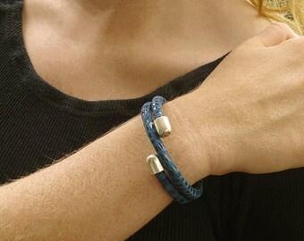 Denim Blue Open Cuff Bracelet, Memory Wire Bracelet, Spiral Bracelet Cuff, Leather Cuff Bracelet, Blue Leather Bracelet, Leather Jewelry