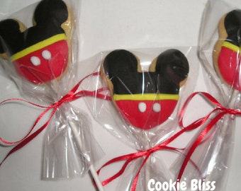 6 Mickey Mouse Mouse Cookie Pops Party Favors Kids Birthday Favors Decorated Cookies Baked Goods Cookie Lollipops Cookie Gifts Sugar Cookies