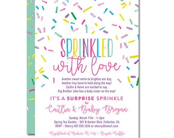 Fun affordable invitations party printables by paperieoffpark baby sprinkle shower 5x7 invitation sprinkled with love printable and personalized negle Images