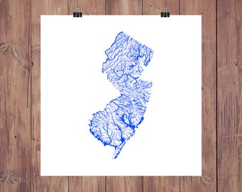 New Jersey Map - High Res Map of New Jersey Rivers / New Jersey Print / New Jersey Art / New Jersey Poster / New Jersey Gift / Jersey Decor