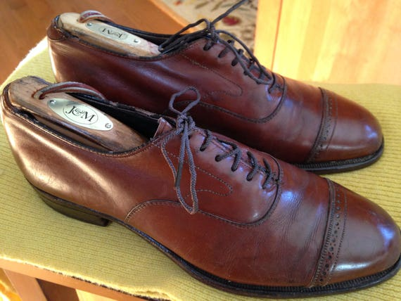 Vintage Johnson And Murphy Aristocraft Navy Blue Leather Size 11.5C