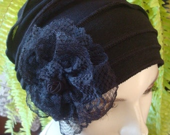 Chemo Hat chemo Headwear Womens Black soft hat beanie Hat Flapper cancer