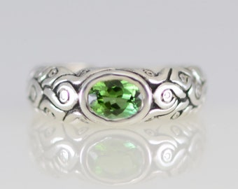 Green Tourmaline Ring in Sterling Silver