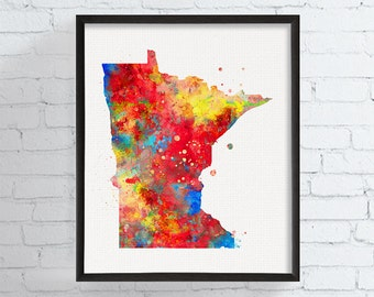 Minnesota Watercolor Map, Minnesota State Map, Minnesota Poster, Minnesota Wall Decor, Minnesota Print, Minnesota Art, Dorm Decor, Colorful