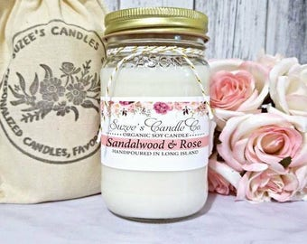 Soy Candles - Sandalwood Soy Candle - Sandalwood Rose - Scented Soy Candles - Container Candles - Soy Candles Handmade - Scented Candles