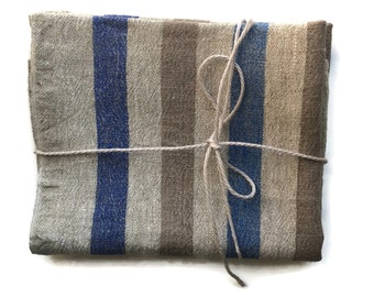 Linen towels, Linen kitchen towels, Set of kitchen towels, Beige linen kitchen towels, Striped linen kitchen towels, Blue, Dark Beige