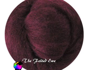 Needle Felting Wool Roving / DR67 Merlot on My Blouse Carded Wool Roving