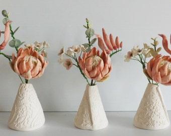 Ceramic Australian native flowers and textured Vase - Protea, eucalyptus, wax and kangaroo paw