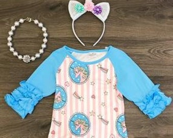 Blue Unicorn Ruffle Raglan