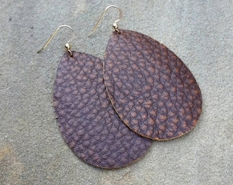 Rusty Brown, Leather Earrings, Brown Leather, Teardrop Earrings, Leather Teardrops, Distressed Leather, Brown Earrings, Boho Earrings