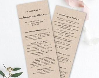 Printable Wedding Program Template - Order of Service - Rustic Wedding Program - Editable Wedding Program - TEMPLETT - Brianna