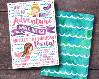 Mermaid Birthday Invitation, Mermaid Party Invitation, Mermaid Invitation, Watercolor Mermaid Invitation, Cute Mermaid Invitation,