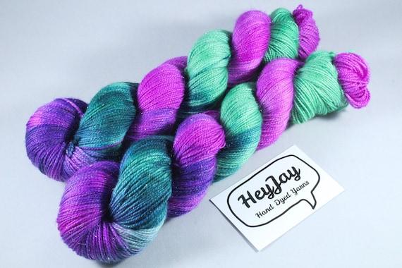 Hand Dyed Sparkle Merino Sock Yarn - Cherry Tree