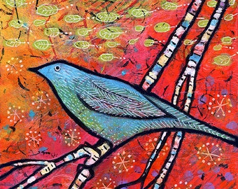 "Whimsical Bird Wall Art, Colorful Bird Artwork, Small Bird Painting, Blue Bird Themed Nursery Decor.  8"" x 8""  Safe Landing by Lindy Gaskill"