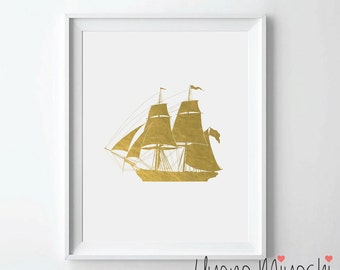 Ship II Gold Foil Print, Gold Print, Custom Print in Gold, Art Print, Ship Gold Foil Art Print, Retro Vintage Pirate Ship Gold Foil Print