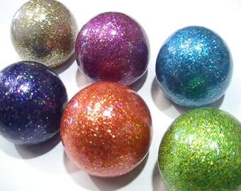 CABINET KNOBS Hardware Dresser Drawer Pulls - Sparkly Glitter Ball