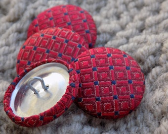 """Upcycled Red Silk Tie Buttons 7/8"""" (22mm) - Set of 4.  Sewing Supplies Fasteners Embellishments Repurposed Necktie Handmade Fabric Covered"""