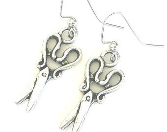 Scissors earrings, antiqued silver, hair stylist jewelry, gift for hairdresser, quilter or sewer, beauty salon, beautician, cosmetologist