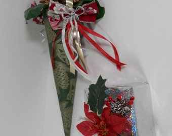 """2 Pc Holiday Set - 15"""" Tussie Mussie Cone Mylar Poinsettia Decorated Box Door Knob Hanging Hanger Gift Wrap Package Topper Christmas Display"""