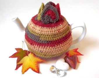 Crochet Autumn Tea Pot Cozy. Multi-coloured Tea Cozy. Striped Tea Pot Cozy. Fall crochet tea pot cosy.